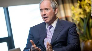 Stephen Schwarzman, chairman and chief executive officer of Blackstone Group LP, speaks during a Bloomberg Television interview in New York, U.S., on Tuesday, June 4, 2013. Blackstone Group LP, the second-biggest U.S. office landlord, has said it expects strong interest from sovereign-wealth funds for properties it plans to sell starting this year. Photographer: Scott Eells/Bloomberg via Getty Images